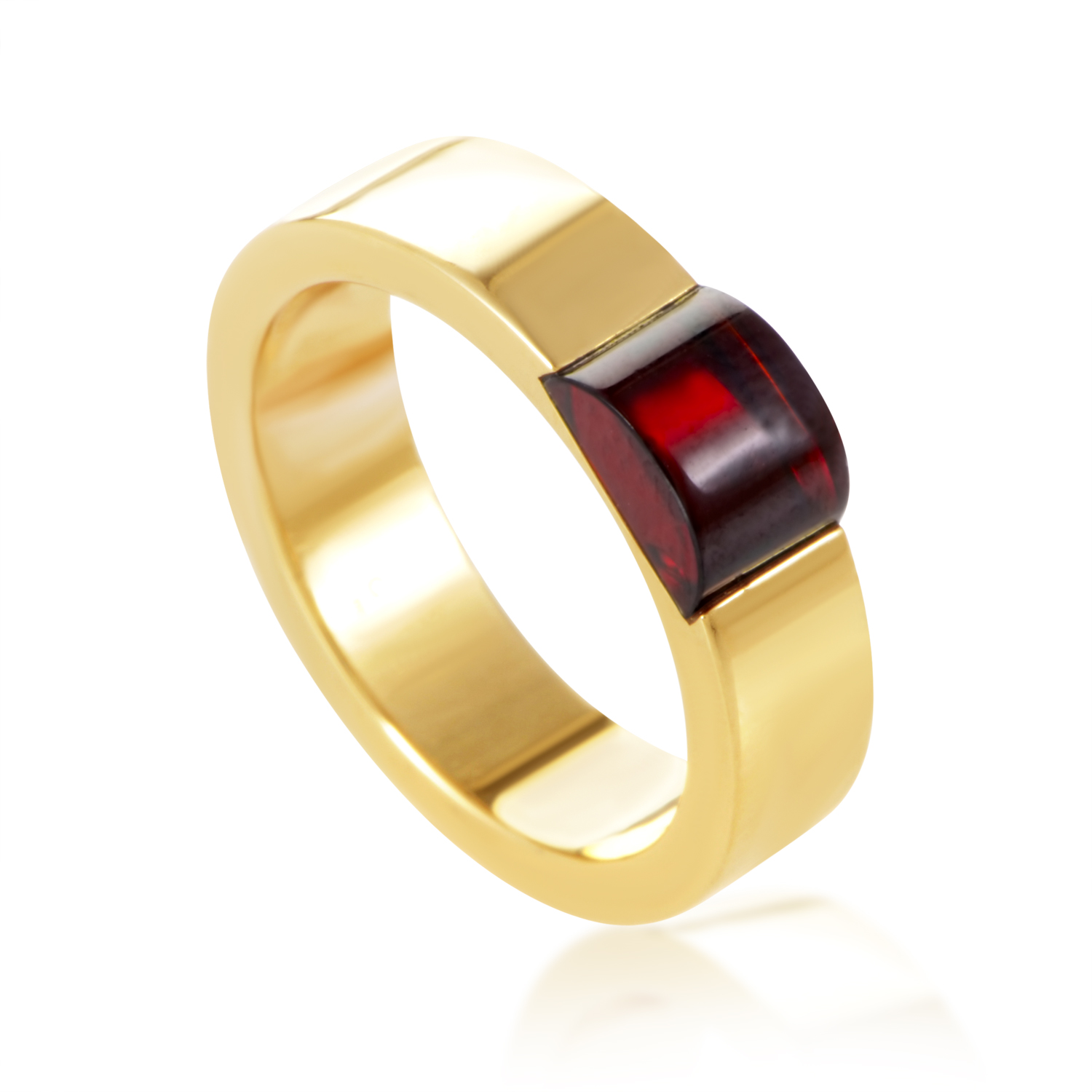 Gucci 18K Yellow Gold Garnet Ring