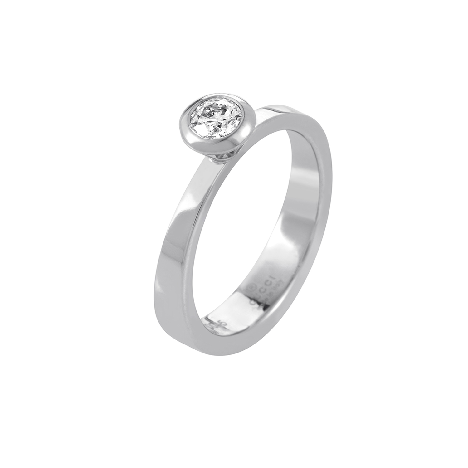 Gucci 18K White Gold .33ct Diamond Solitaire Engagement Ring