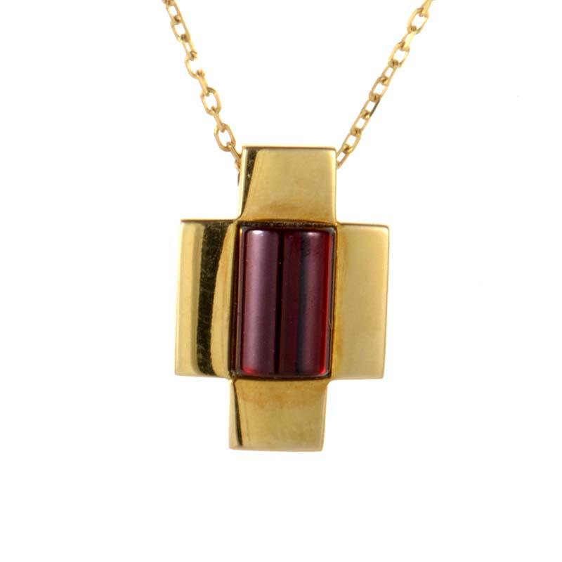 18K Yellow Gold Garnet Crucifix Pendant Necklace GU01729429YG