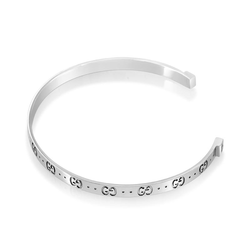 a63dc890f3d about Gucci Icon 18K White Gold Open Bangle Bracelet GUC01-010215