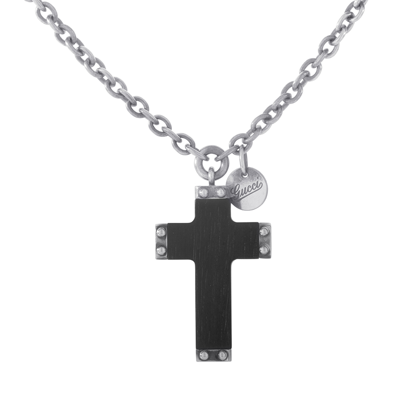 Sterling Silver Black Wood Crucifix Pendant Necklace 181418J84701470