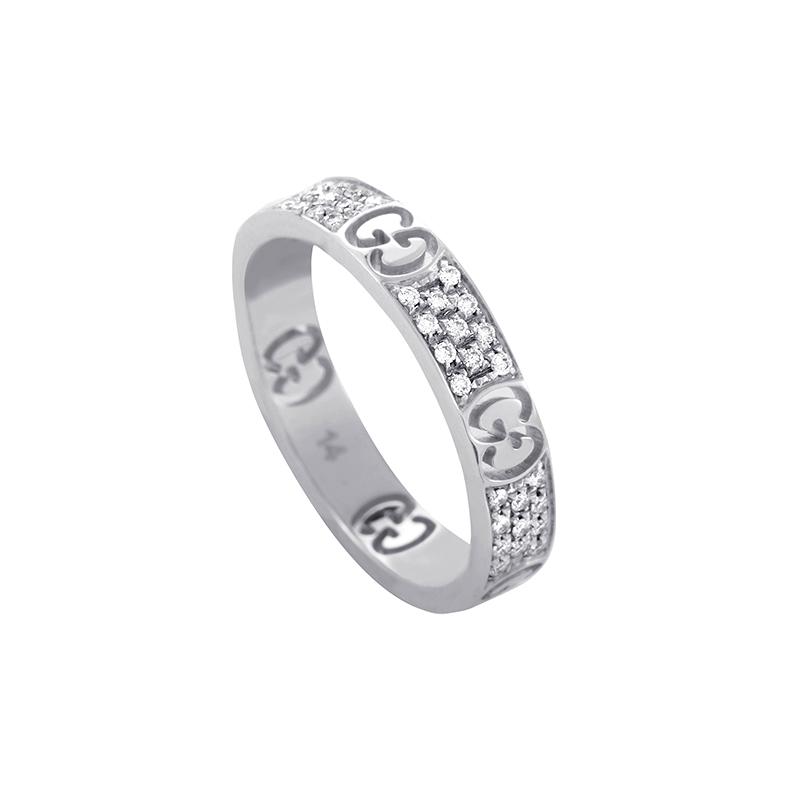 Icon Full Diamond Pave 18K White Gold Eternity Band GUC21-010215