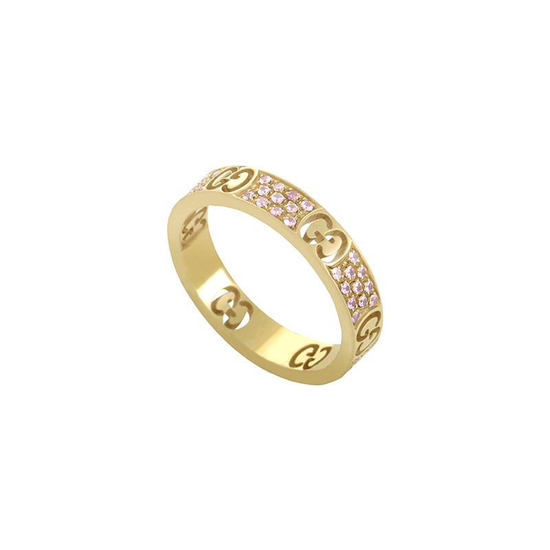 Icon Pink Sapphire Pave 18K Rose Gold Eternity Band 06036577
