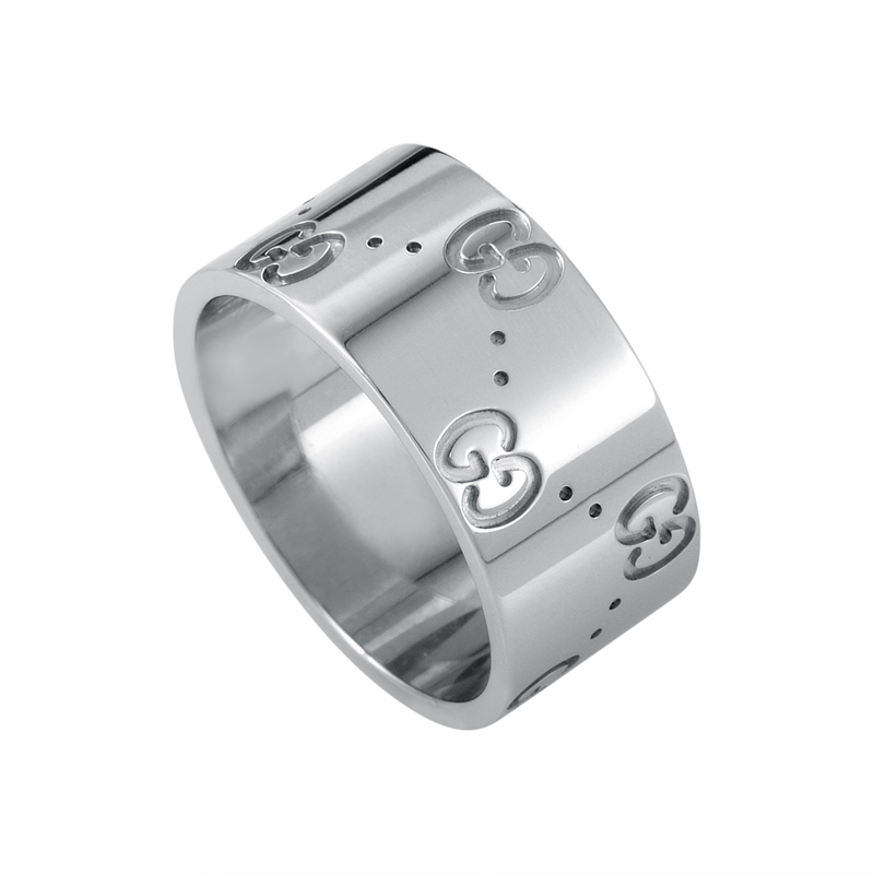 Icon Wide 18K White Gold Band Ring GUC29-010215