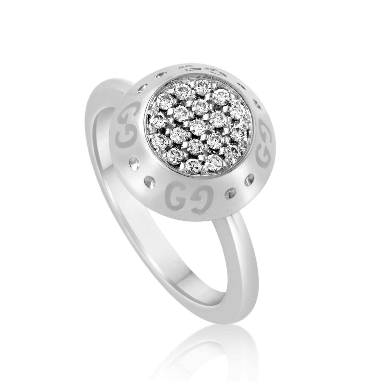 18K White Gold Diamond Pave Ring