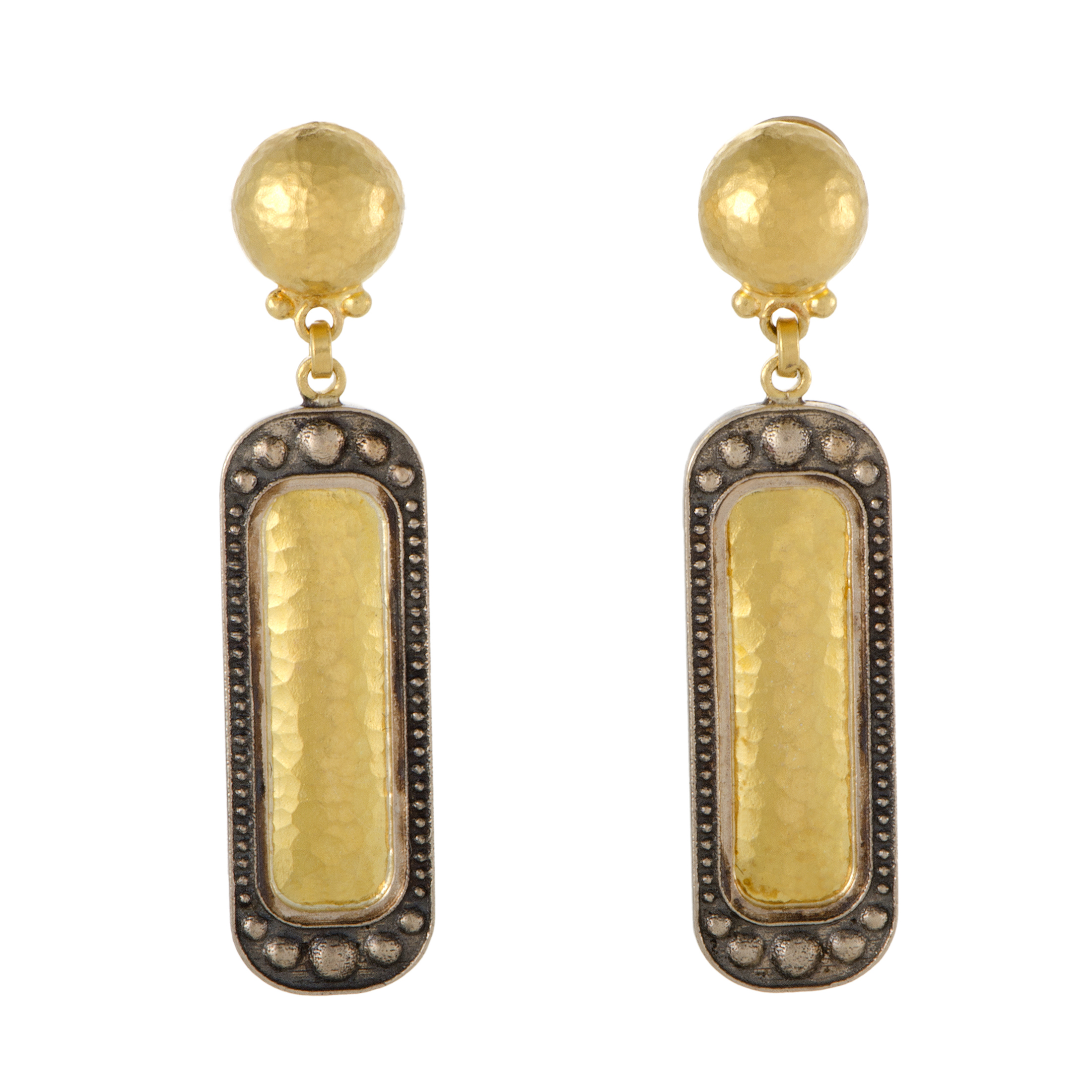 Womens 24K Yellow and 18K White Gold Rectangular Drop Earrings