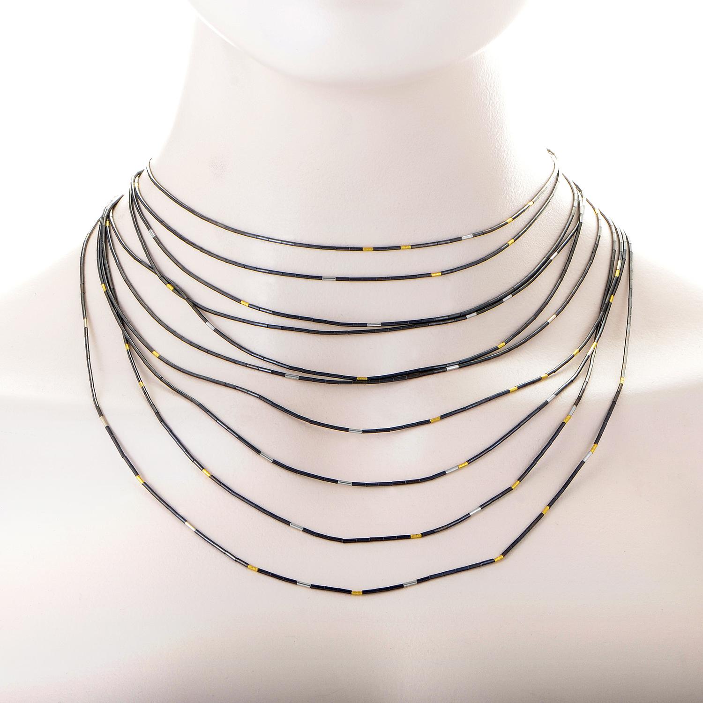 Rain Women's 24K Yellow Gold Silver Draping Necklace HNR-10-MXM-3