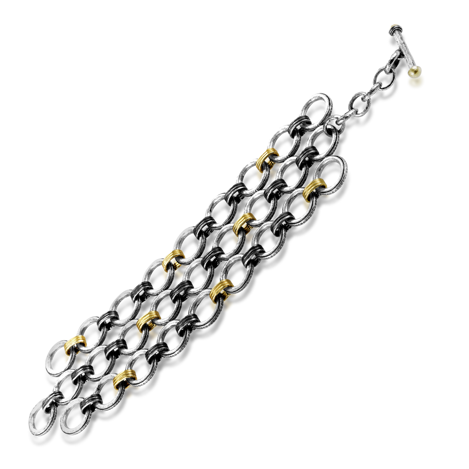 Hoopla Women's Silver & 24K Yellow Gold Toggle Bracelet