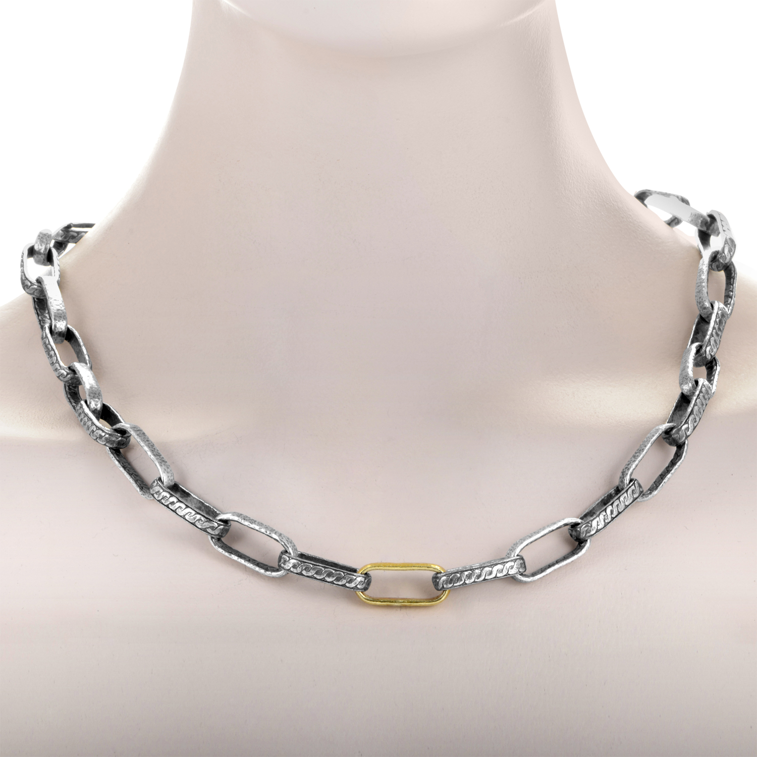 Ottoman Silver & 24K Yellow Gold Link Toggle Necklace
