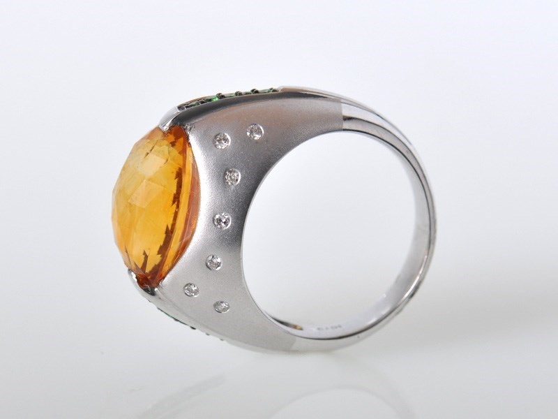 Exquisite 18K White Gold Citrine Diamond Tsavorite Ring