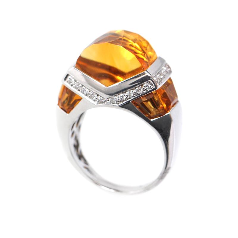 Women's 18K White Gold Diamond & Citrine Ring 11525