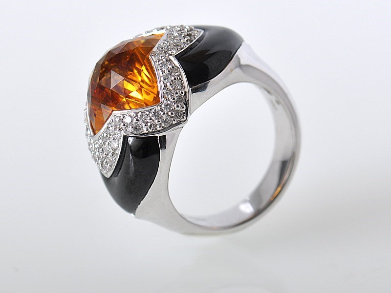 Bold 18K White Gold Diamond Citrine Onyx Cocktail Ring