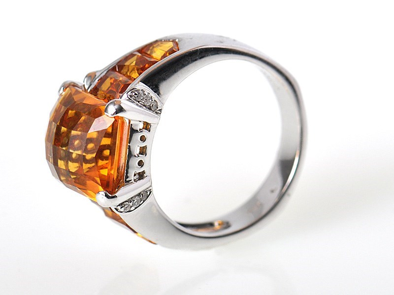 Modern 18K White Gold Diamond Citrine Square Ring