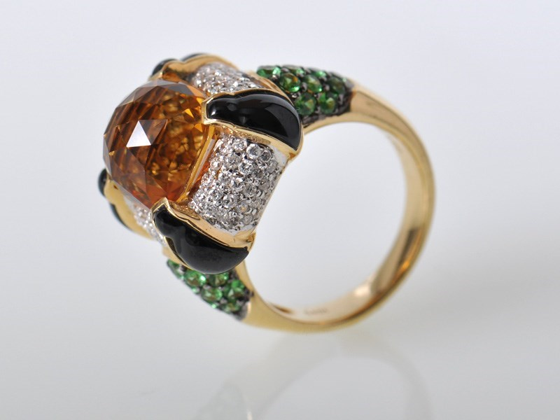 Daring 18K Yellow Gold Diamond Citrine Onyx Tsavorite Ring