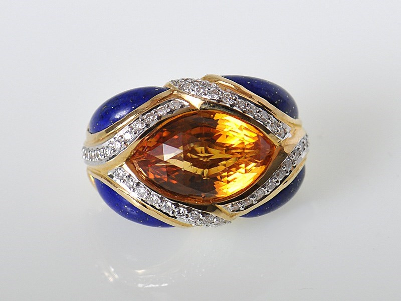 Brilliant 18K Yellow Gold Diamonds Citrine Lapis Pendant