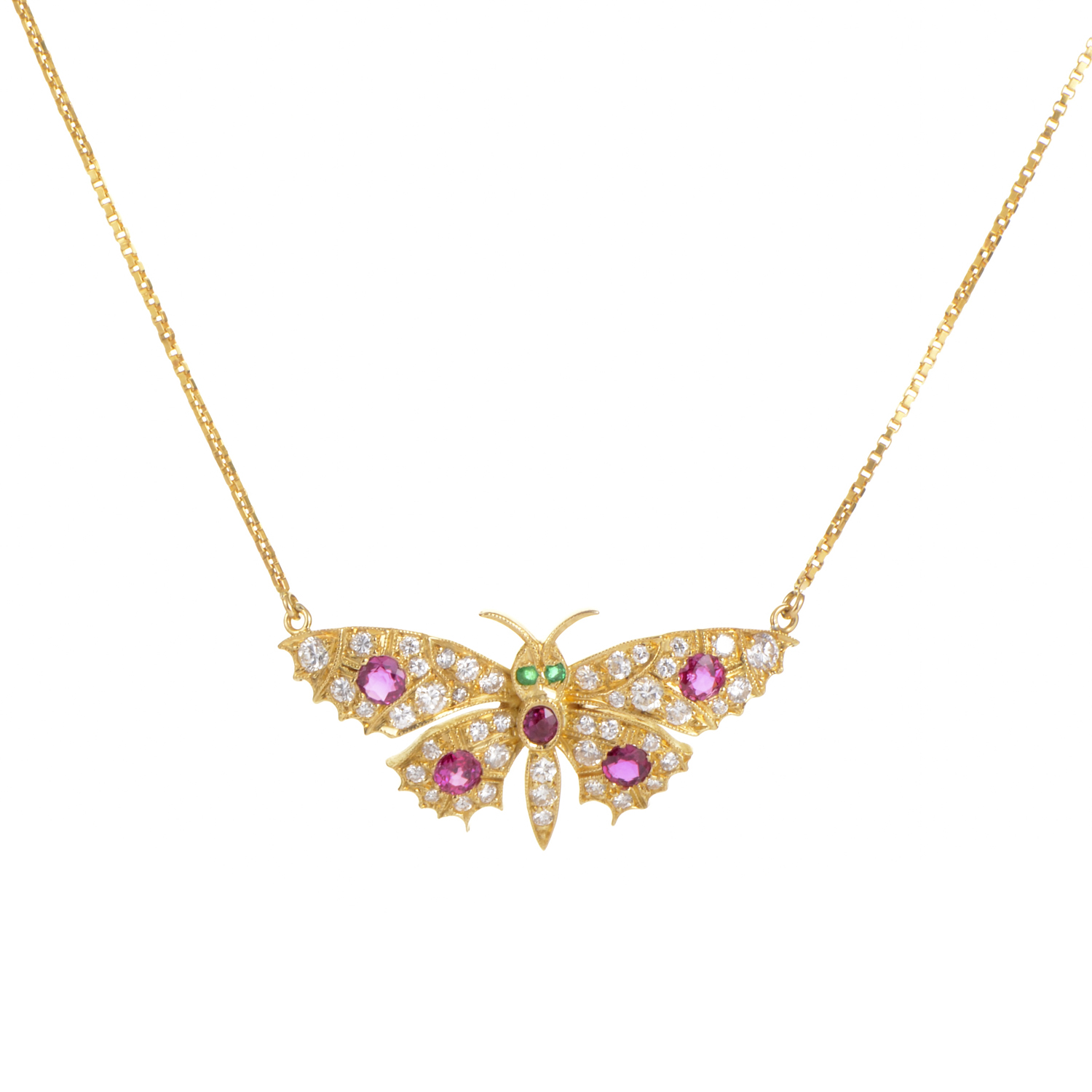 Garrard 18K Yellow Gold Precious Gemstone Butterfly Necklace