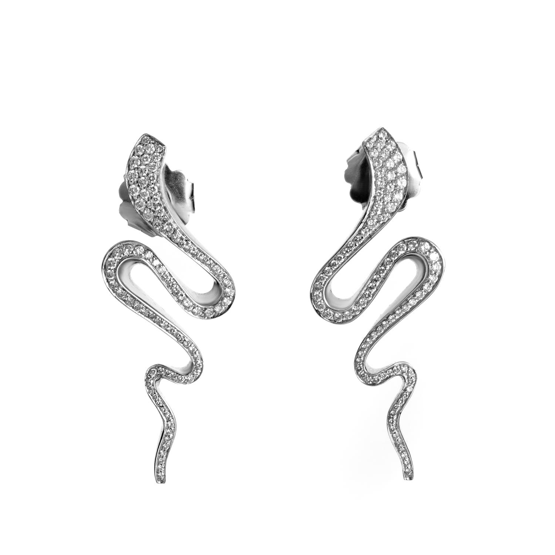 Girogio Visconti Women's 18K White Gold Diamond Snake Earrings BB0096244AC