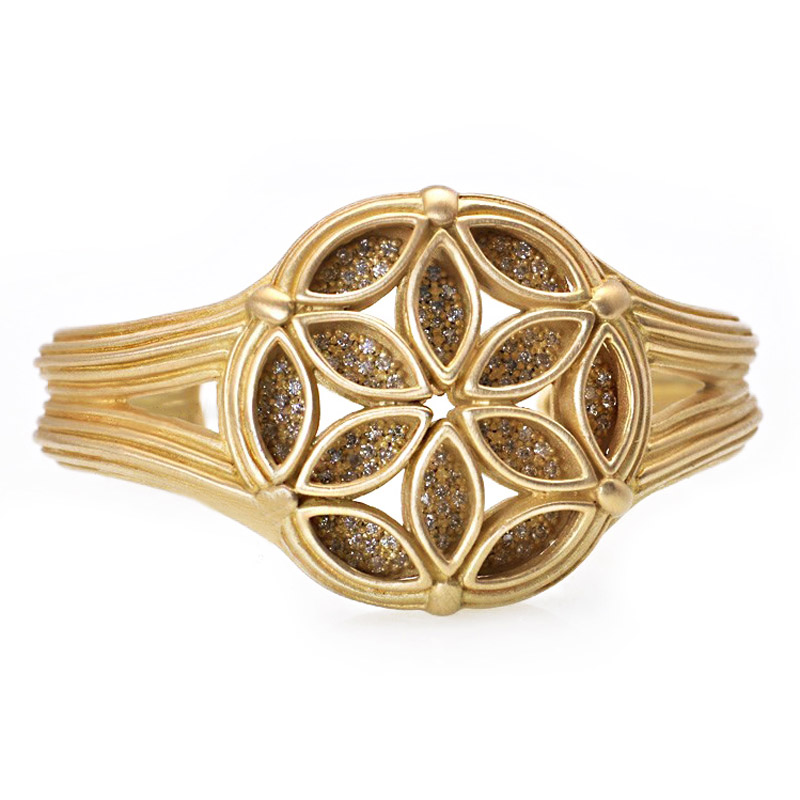 18K Yellow Gold Diamond Fenestra Cuff