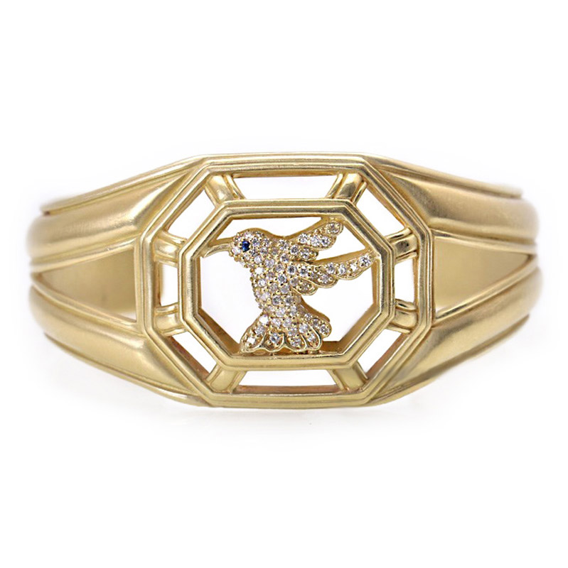 18K Yellow Gold Diamond Hummingbird Cuff