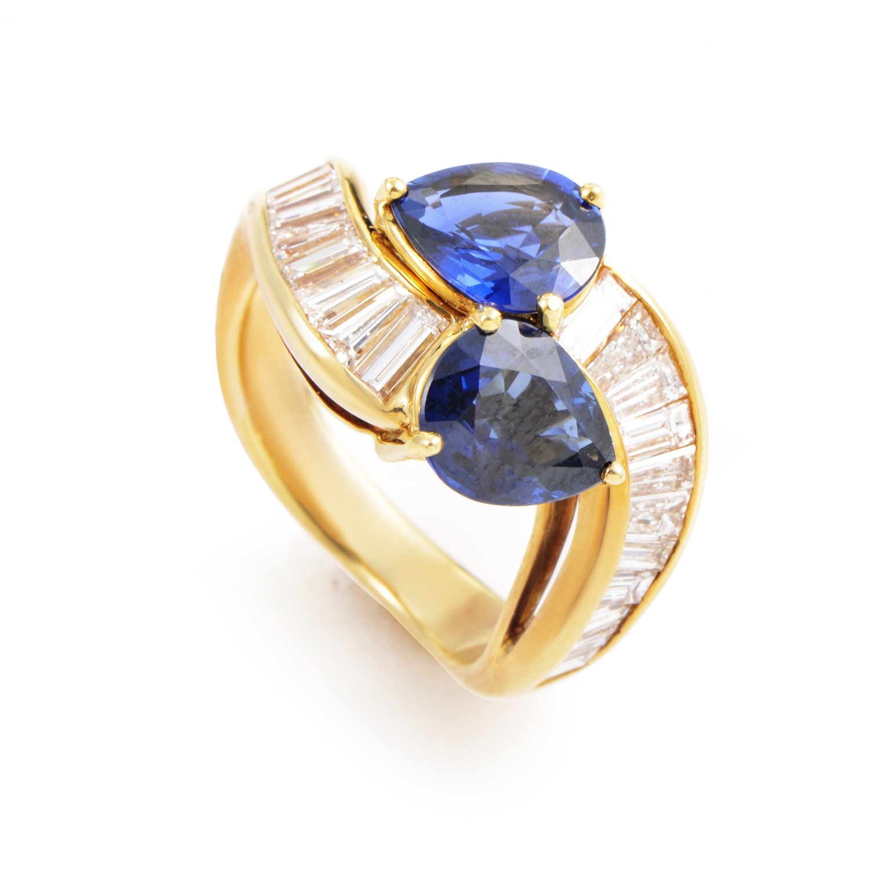 Graff 18K Yellow Gold Diamond and Sapphire Ring
