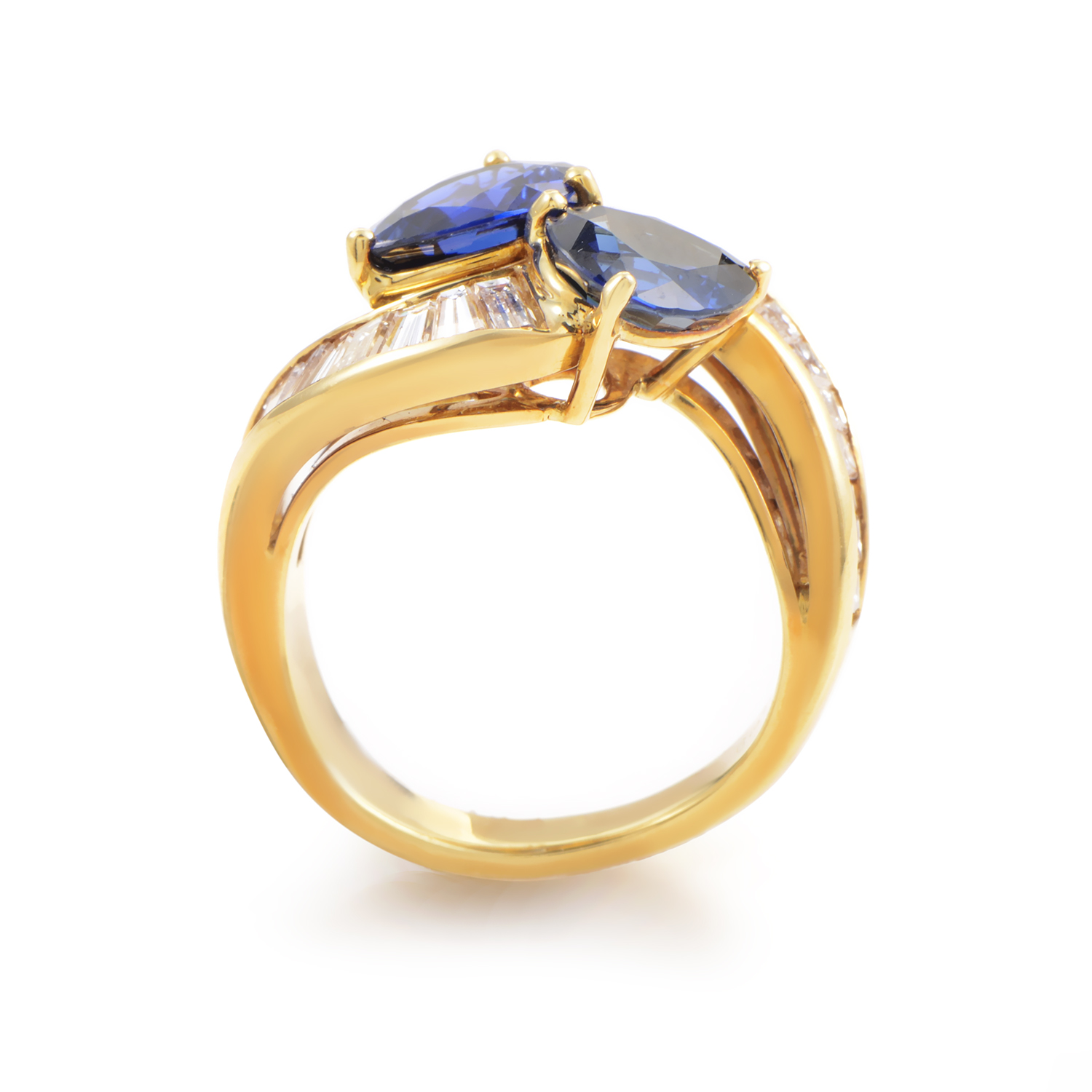 Estate Graff 18k Yellow Gold Diamond And Sapphire Ring