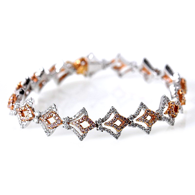Charming 18K Rose White Gold Diamond V Shaped Bracelet