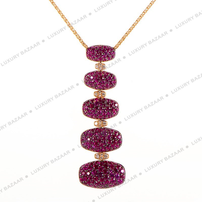18K Rose Gold Ruby and White Diamond Necklace
