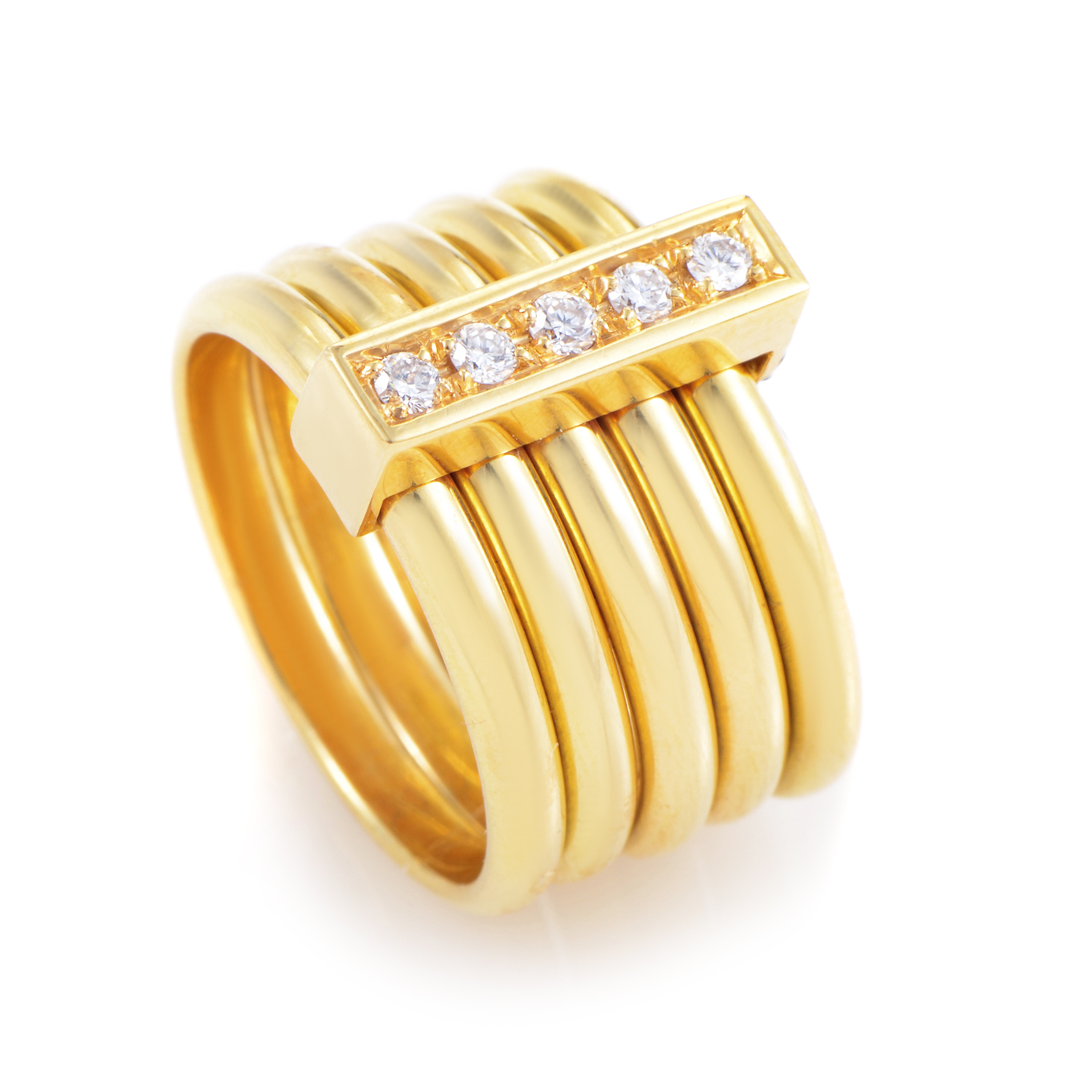 Women's 18K Yellow Gold 5 Band Diamond Ring