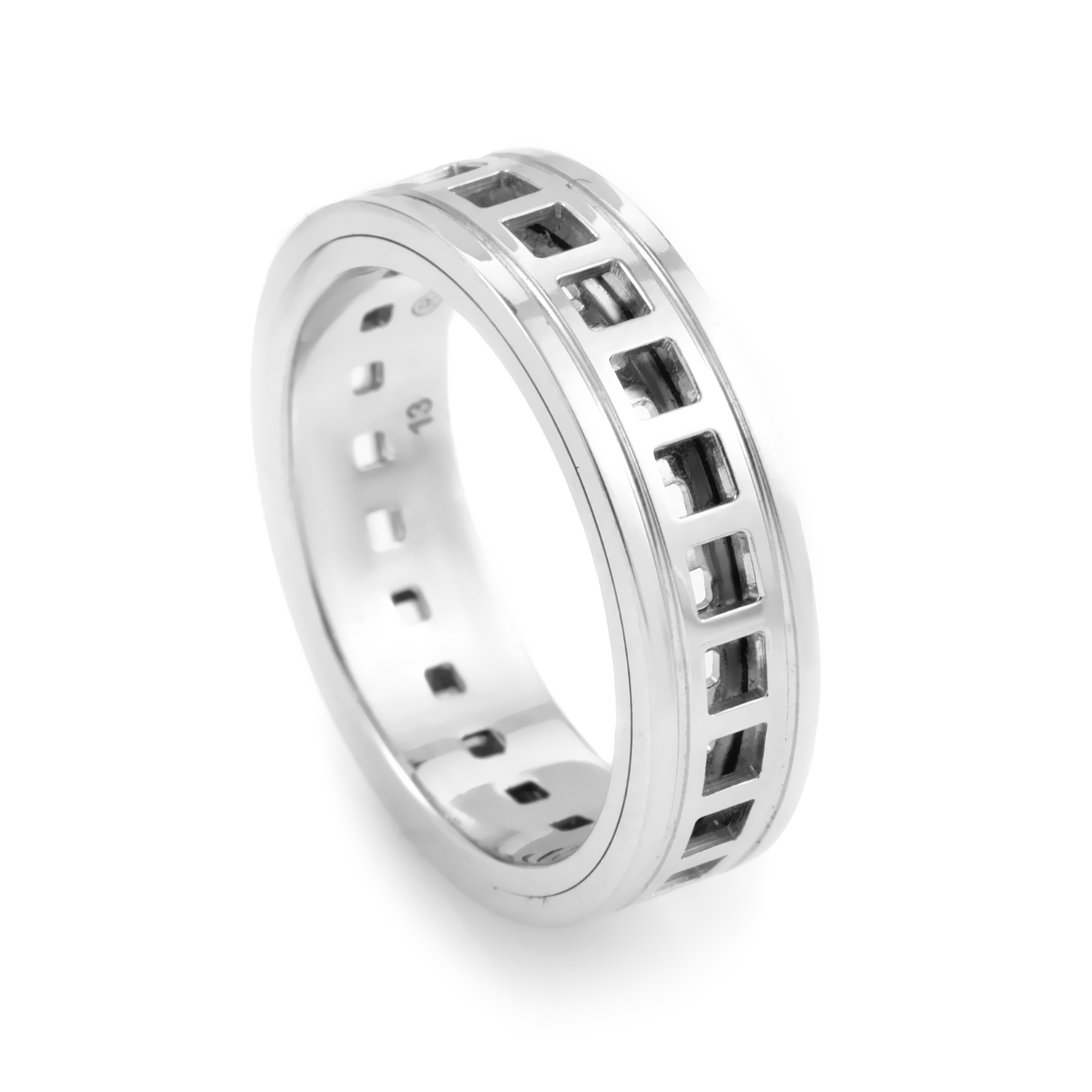 Basso Women's 18K White Gold Perforated Band Ring 03088142