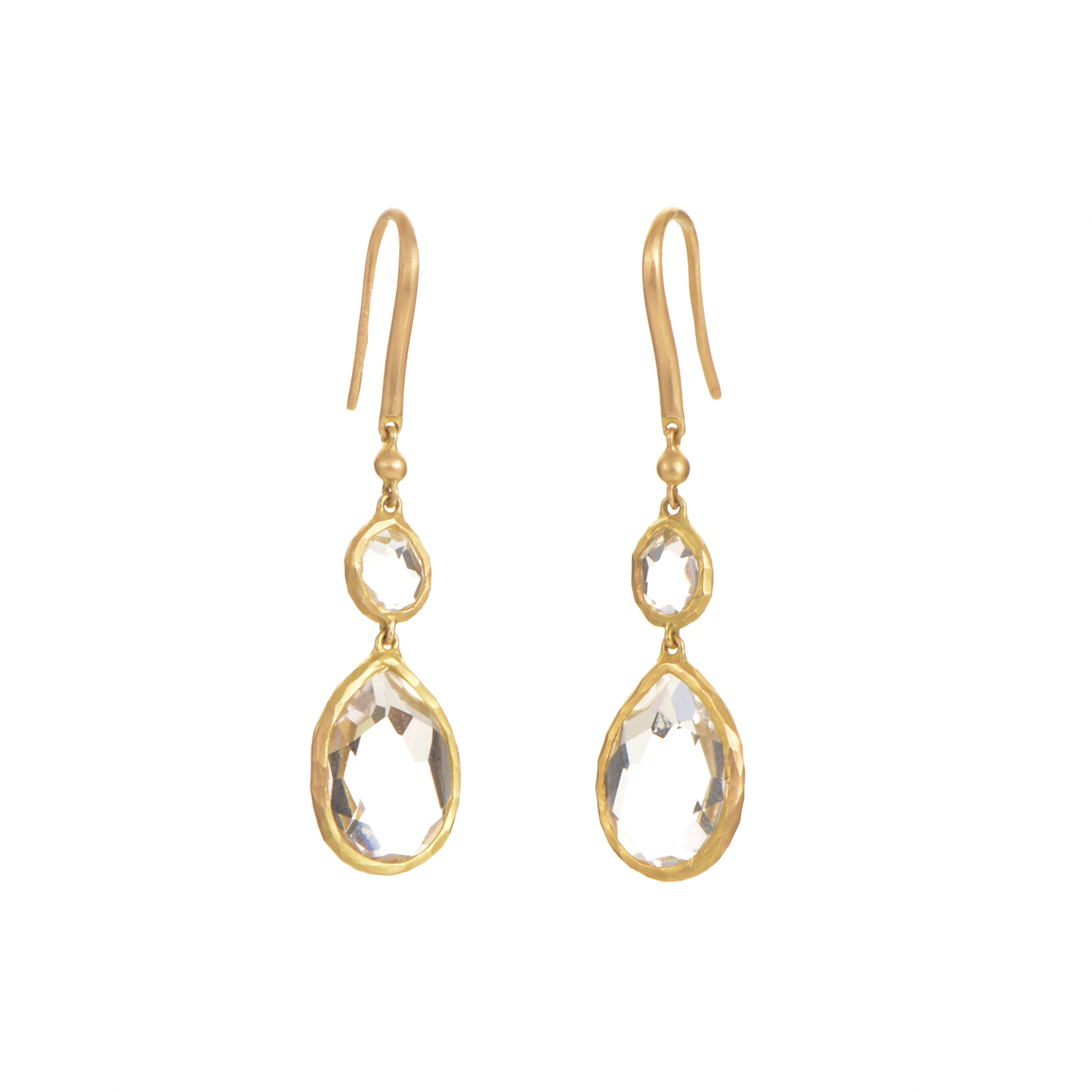 18K Yellow Gold & White Topaz Dangle Earrings