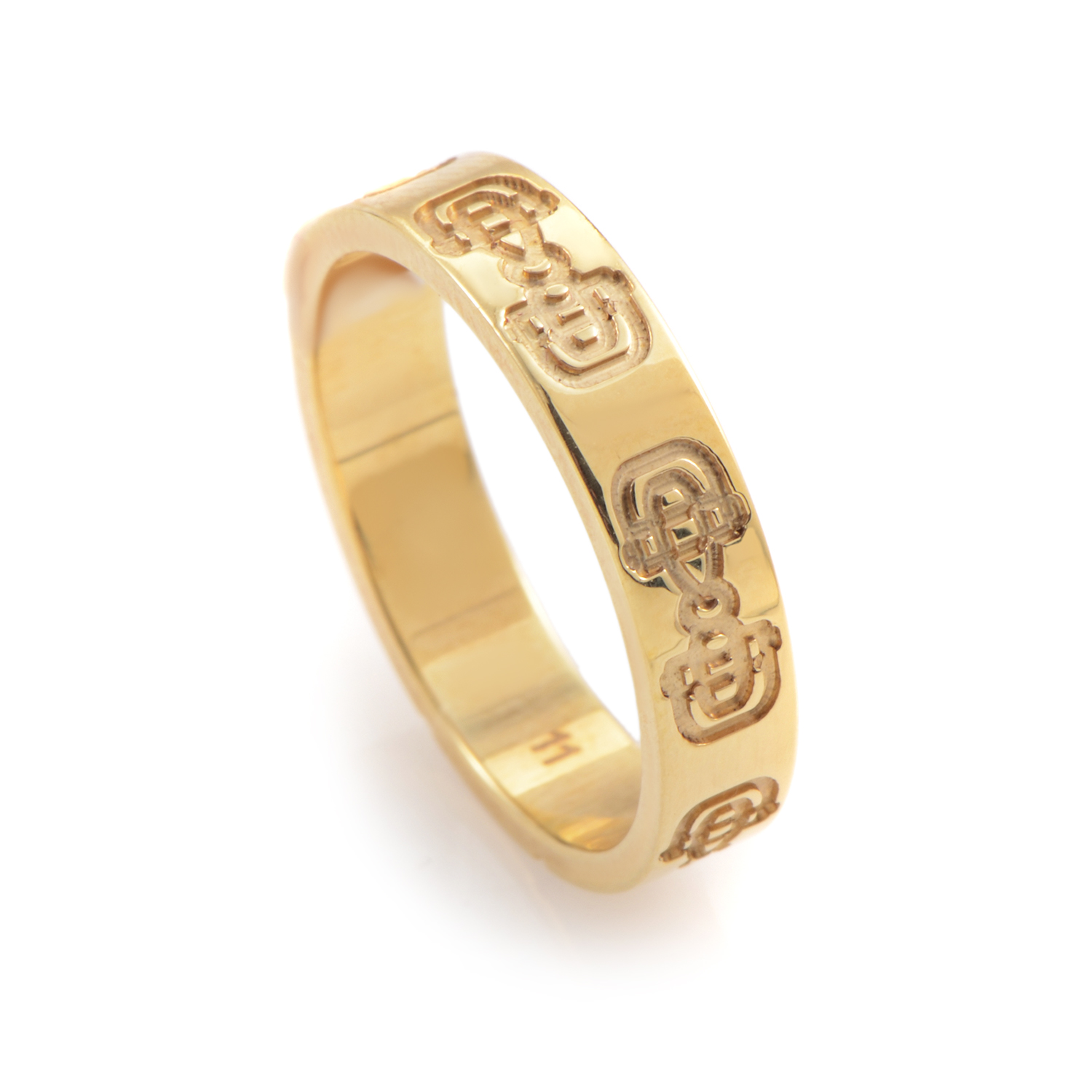 Women's Carved 18K Yellow Gold Thin Band Ring 06058302