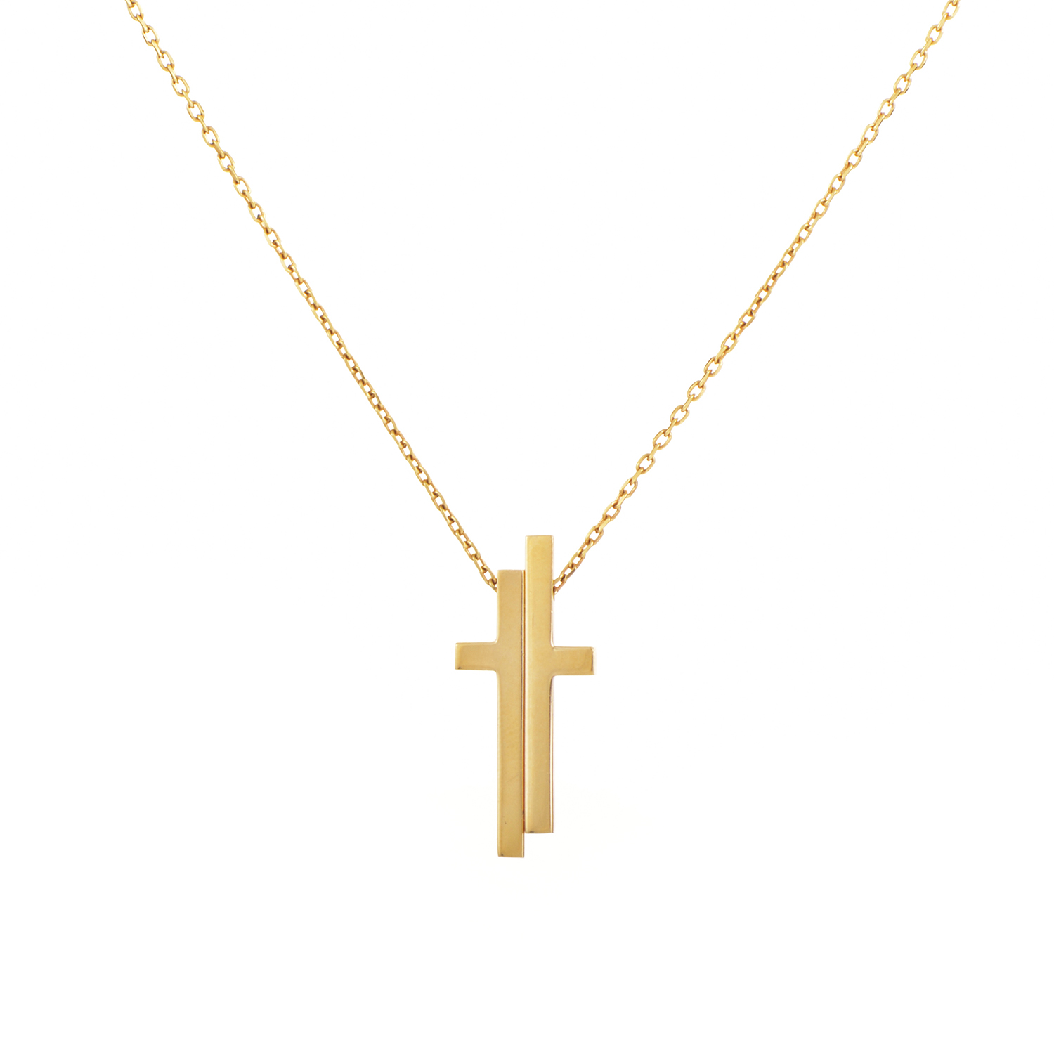 Womens 18K Yellow Gold Cross Pendant Necklace
