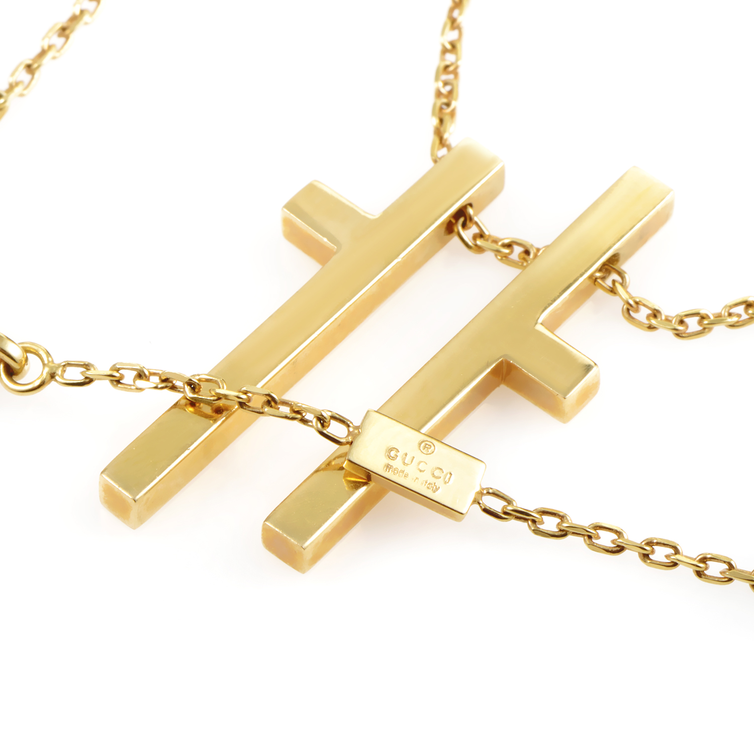gucci womens 18k yellow gold cross pendant necklace. Black Bedroom Furniture Sets. Home Design Ideas