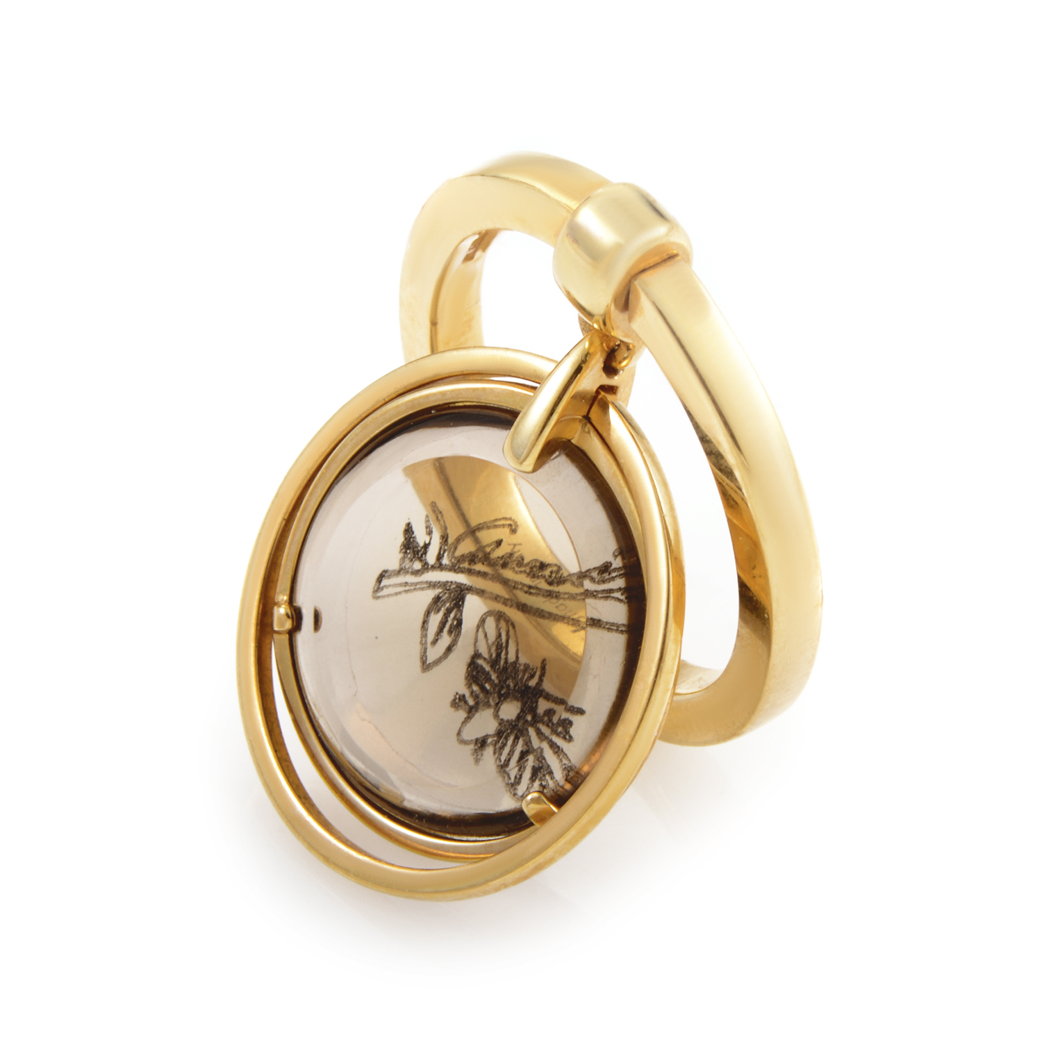 Flora Women's 18K Yellow Gold Smoky Quartz Charm Ring