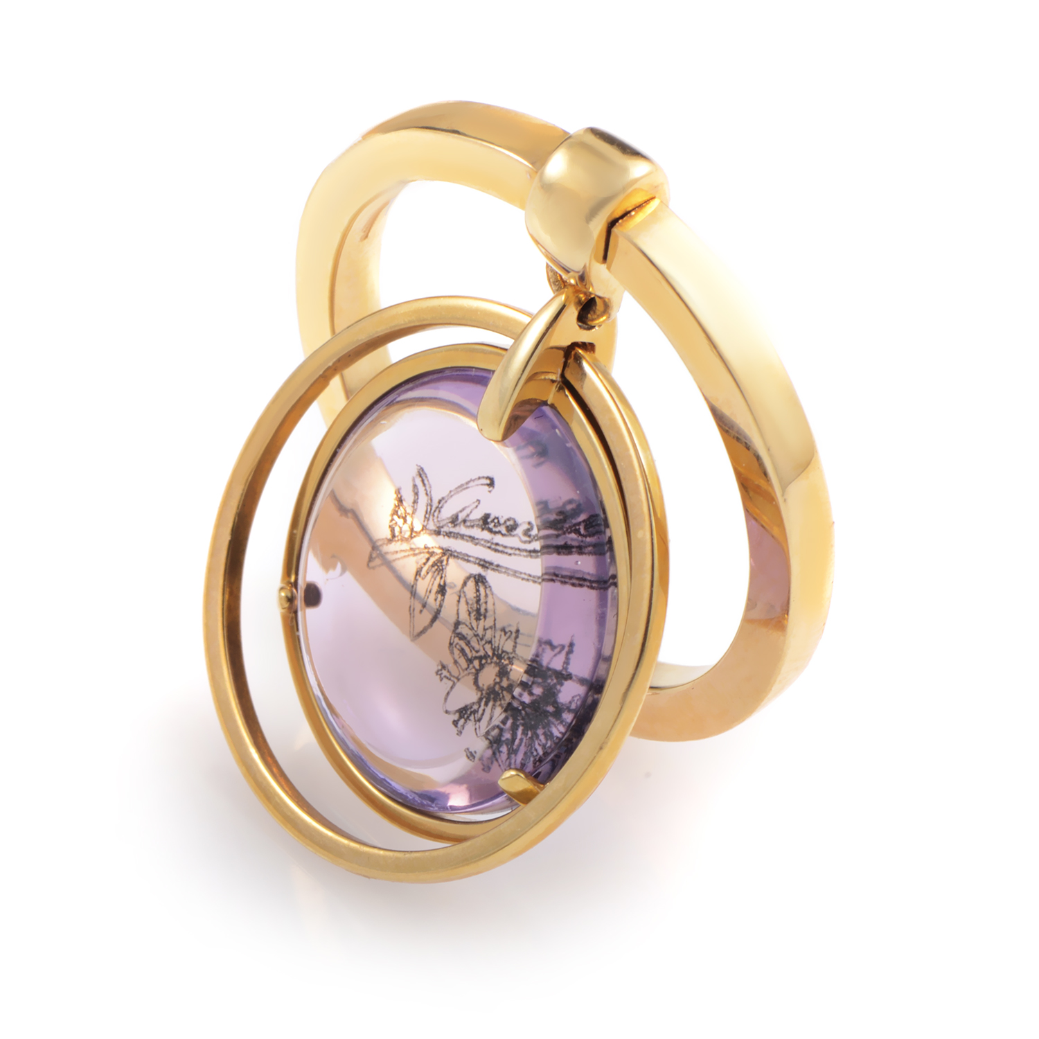 Flora Women's 18K Yellow Gold & Amethyst Charm Ring