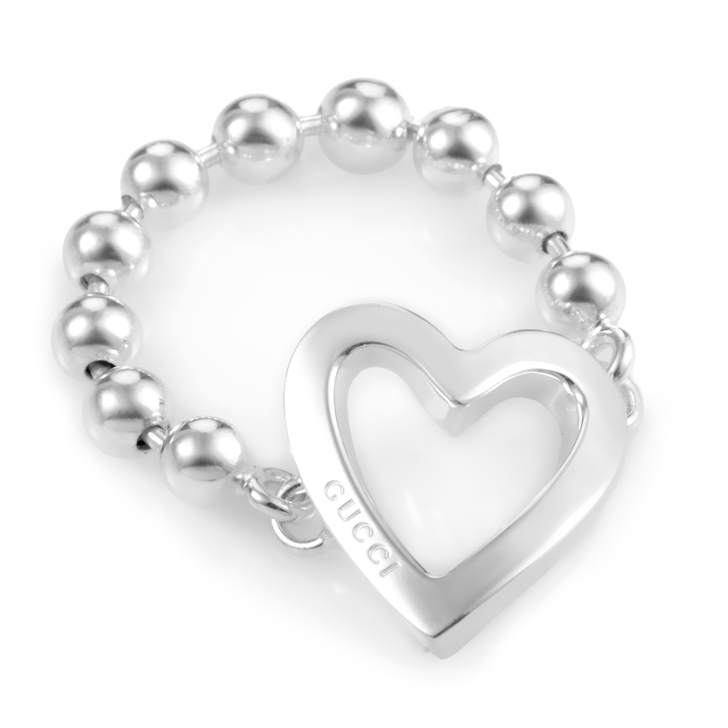 Women's Sterling Silver Beaded Chain & Heart Charm Ring