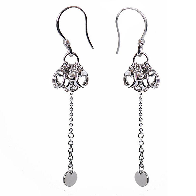 Womens 18K White Gold Horsebit Dangle Earrings