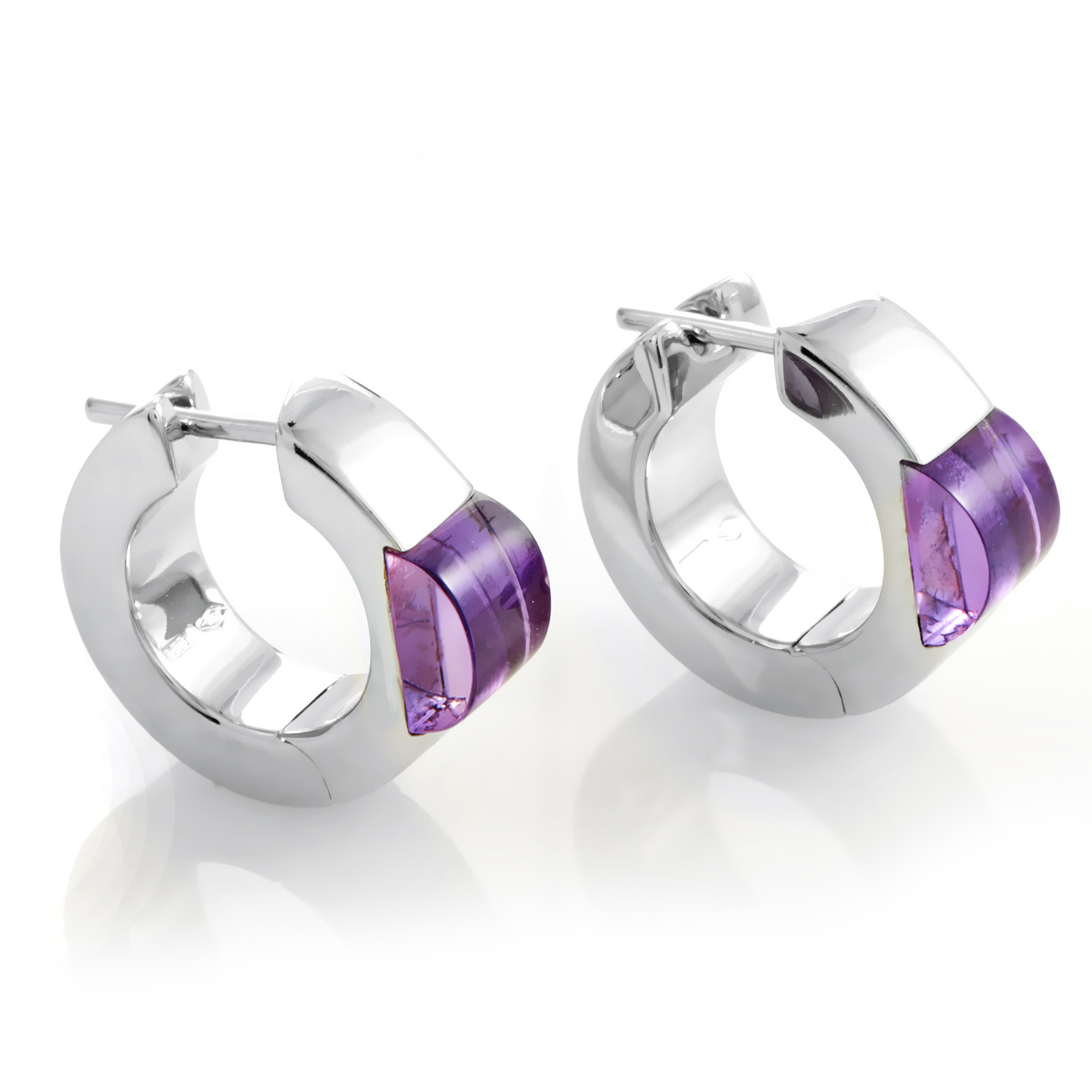 Gucci Women's 18K White Gold Amethyst Hoop Earrings
