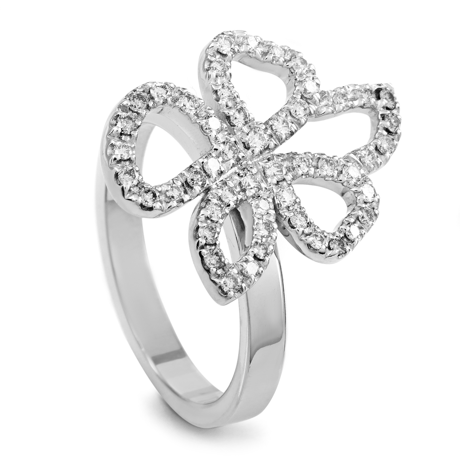 Gucci Women's 18K White Gold Movable Diamond Flower Ring