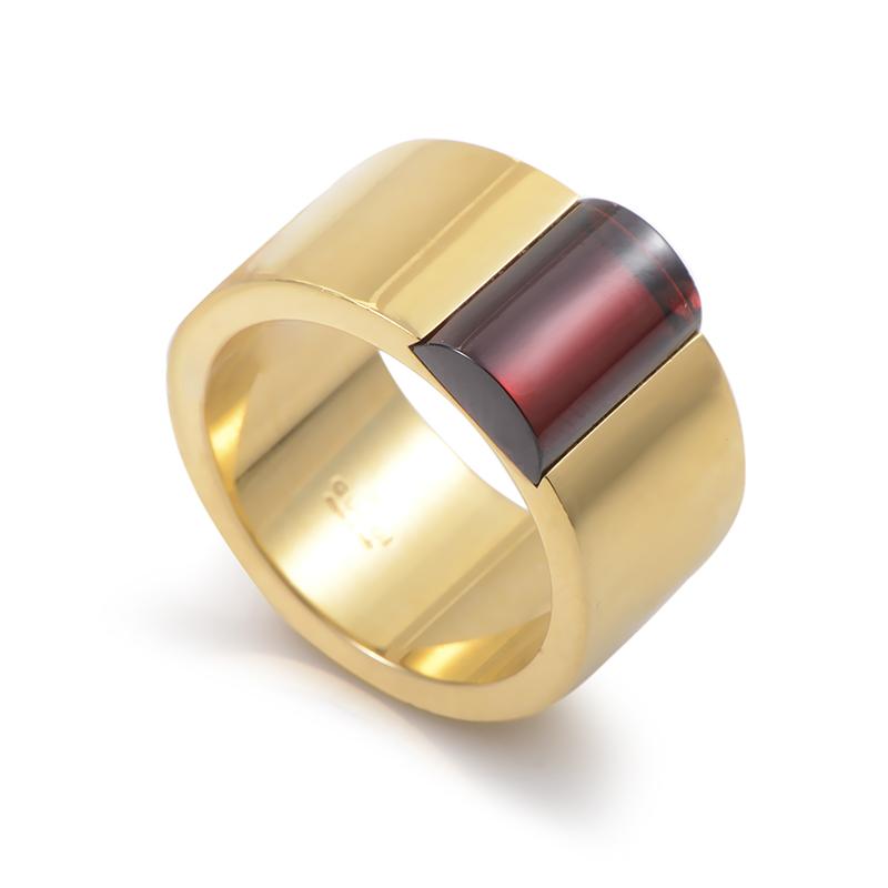 Gucci Women's 18K Yellow Gold Garnet Band Ring