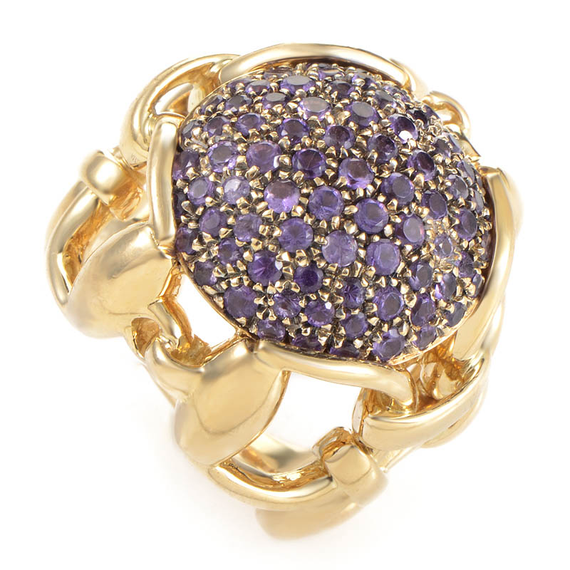 Gucci Women's 18K Yellow Gold Horsebit Amethyst Pave Ring
