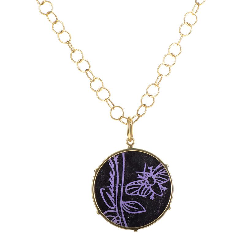 Flora Women's 18K Yellow Gold Onyx Pendant Necklace GUC06-010215