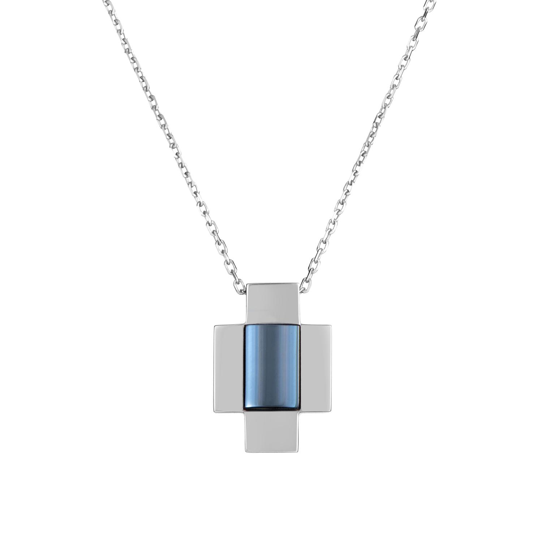 Women's 18K White Gold Topaz Cross Pendant Necklace GUC08209CD