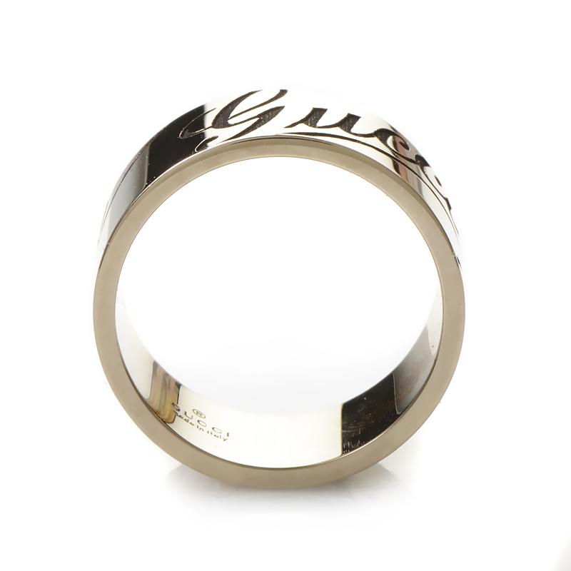 gucci signature 18k white gold band ring guc19 010215