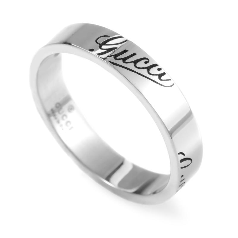Thin Signature 18K White Gold Band Ring GUC25-010215