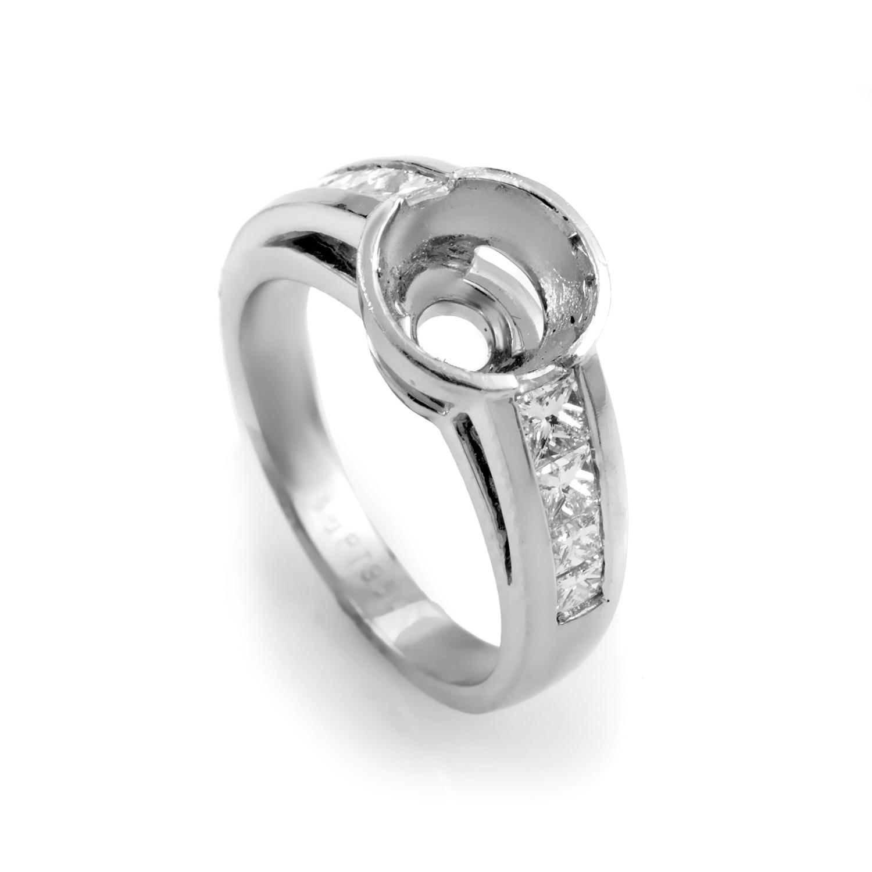 Women's 18K White Gold Diamond Engagement Ring Mounting R591P2C/F145