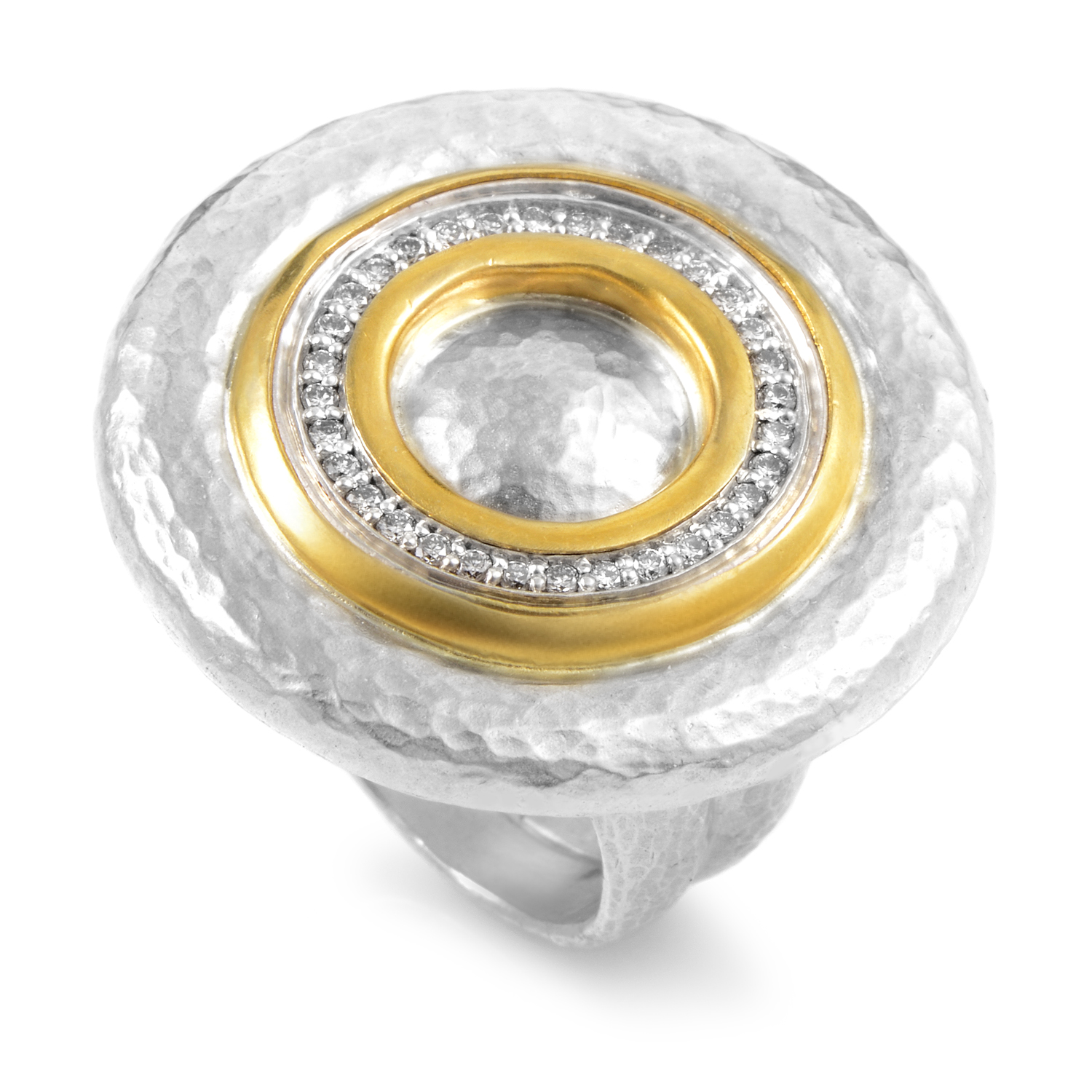 Moon Beam Women's Sterling Silver & 24K Yellow Gold Diamond Ring