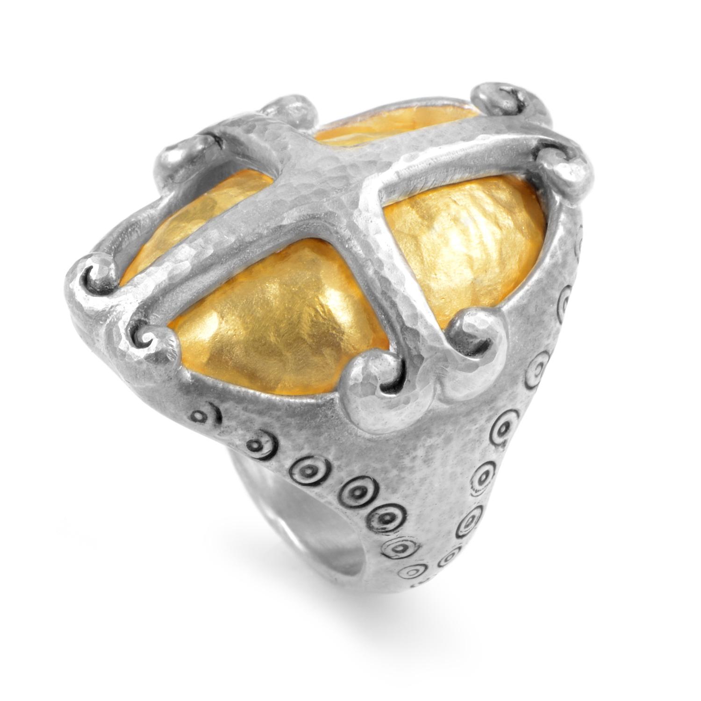 Women's Sterling Silver & 24K Yellow Gold Cross Ring SR-MCRS2620-V