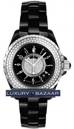 Chanel J12 Automatic 38mm (Black ceramic- Diamonds /Black- Pave diamonds/ Black ceramic bracelet)