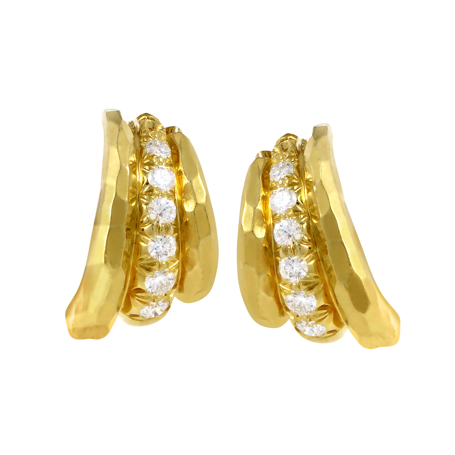 Henry Dunay Hammered 18K Yellow Gold Diamond Earrings
